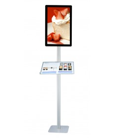 LCD Stand 1 Pole (Plate Base 39 x 39 cm) with Acrylic Menu Table