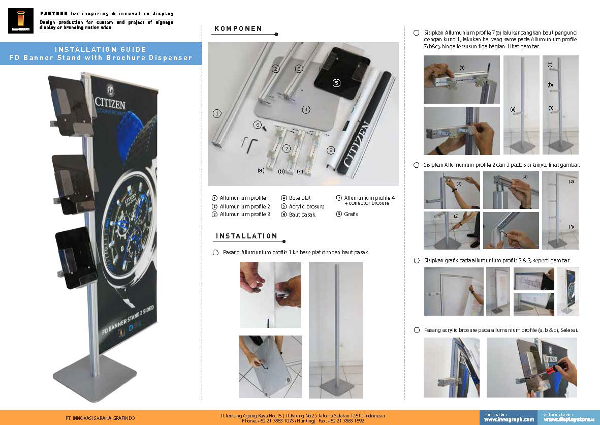 Petunjuk pasang FD Banner Stand With Brochure Dispenser