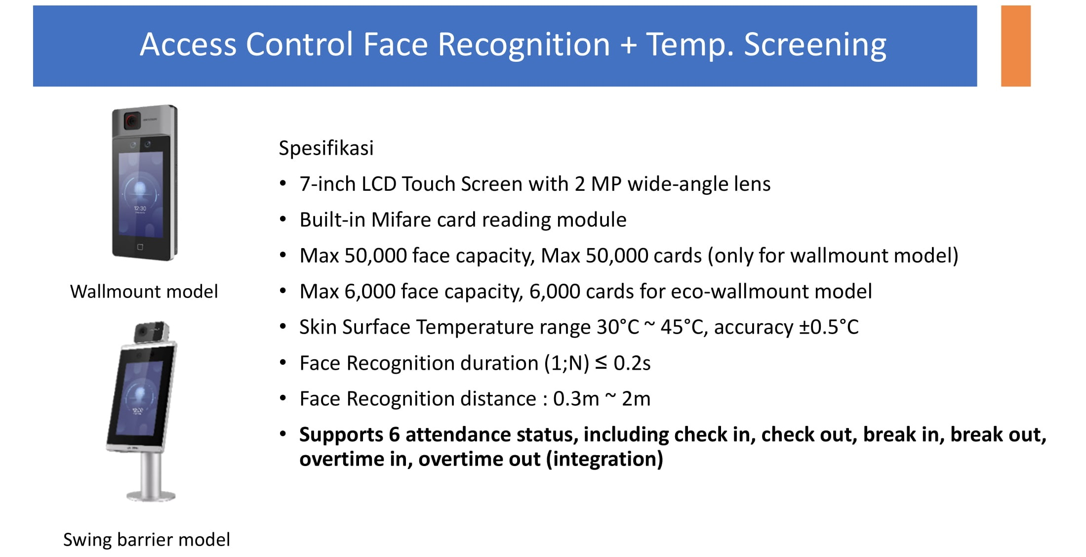 Face Recognition & Temperature Screening Display